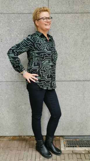Akoz blouse green/zwart