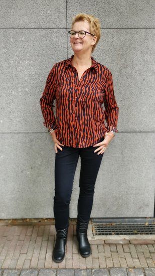 Akoz blouse Oranje navy gestreept