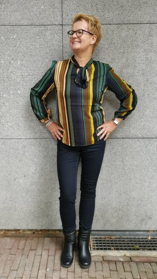 Akoz blouse gestreept green