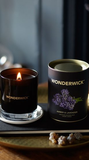 Wonderwick kaars Amber & Lavender