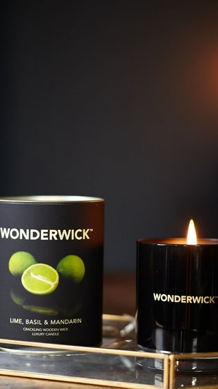 Wonderwick kaars Lime, Basil & Mandarin