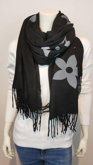 Sjaal zwart met print