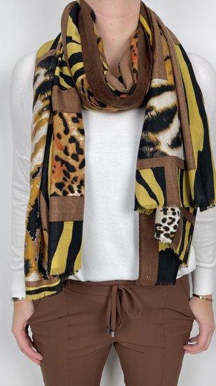 Sjaal met print Oker